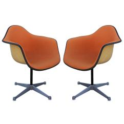 Orange Bucket Chair Korda Accessories Pair Of Herman Miller Eames Swivel Chairs At 1stdibs For Sale