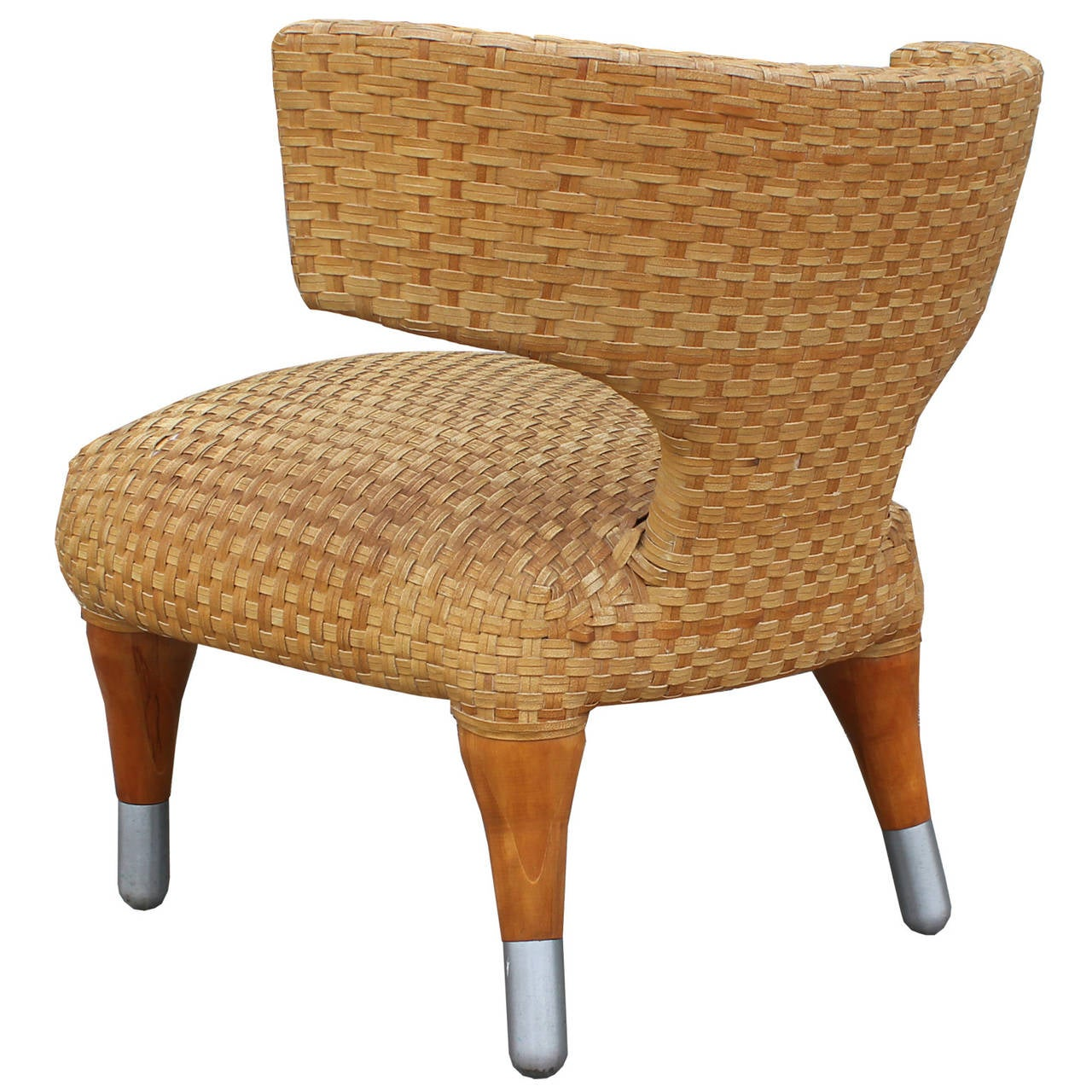 Woven Leather Chair Klismos Side Chair In Woven Leather At 1stdibs