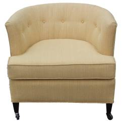 Yellow Club Chair Orange Patio Cushions Clean Pair Of Barrel Back Chairs At 1stdibs