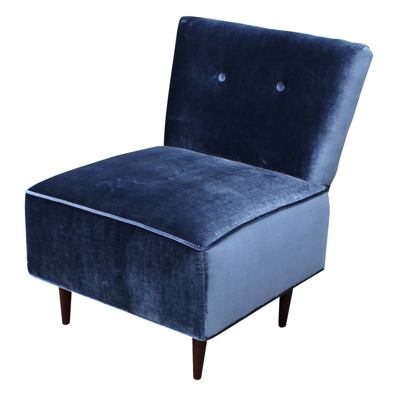 navy blue velvet slipper chair egg accessories fantastic at 1stdibs