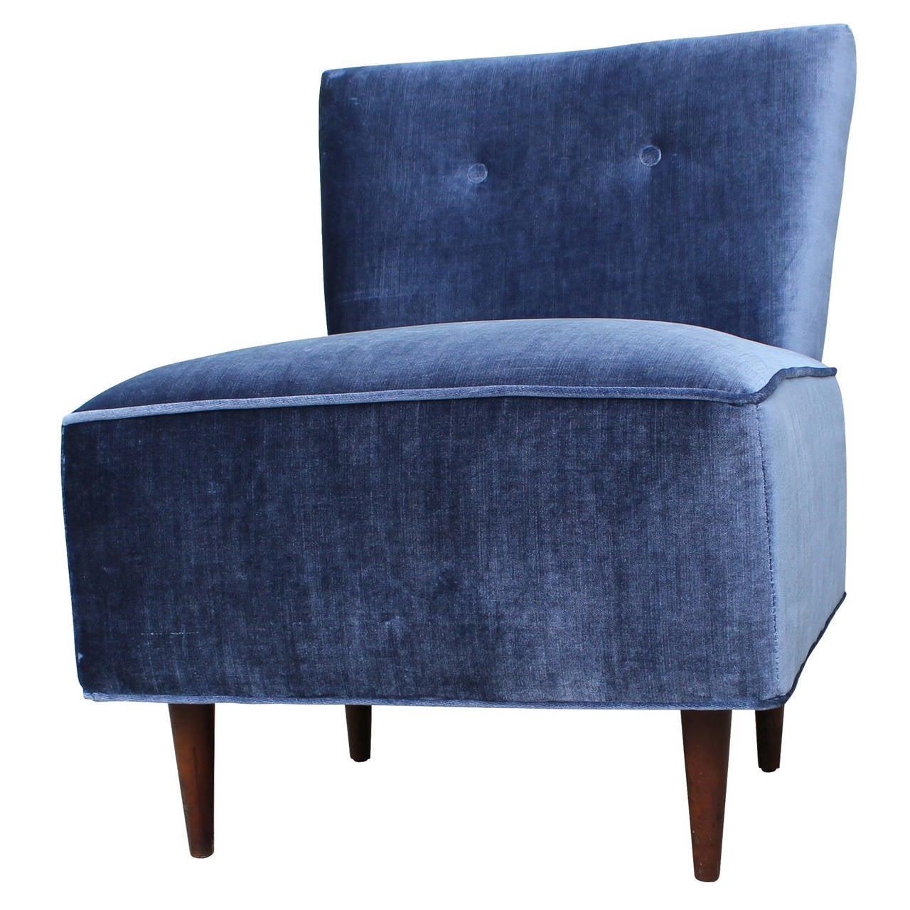 grey velvet slipper chair mid century chairs uk fantastic blue at 1stdibs