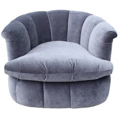 Purple Swivel Chair Metal Arm Chairs Plush Pair Of Grey Velvet At 1stdibs