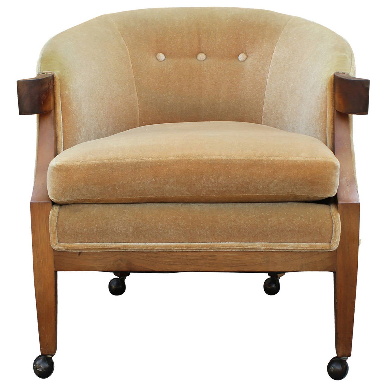 barrel back chair l hitchcock chairs elegant hollywood regency gold mohair by