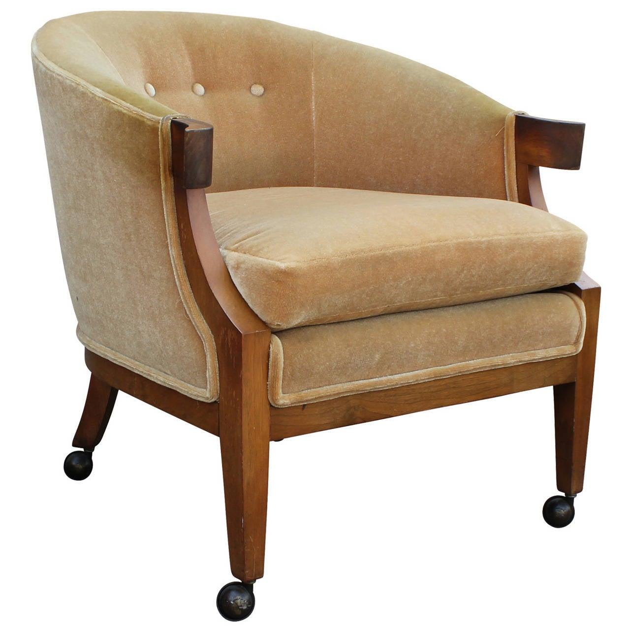barrel back chair beach umbrella elegant hollywood regency gold mohair by