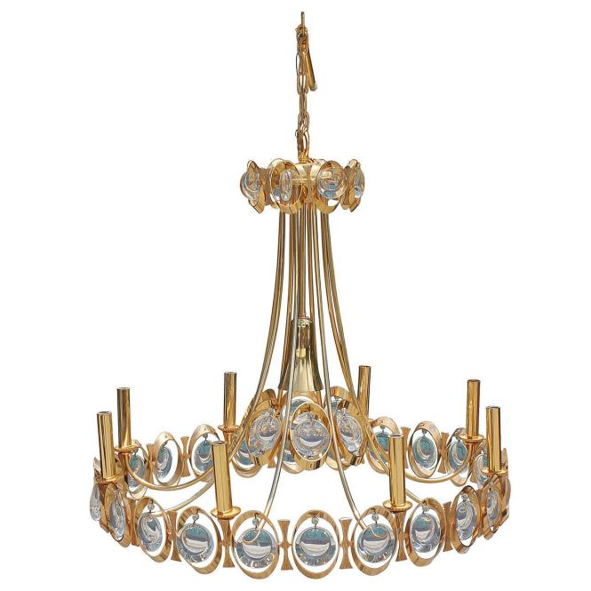 Stunning Gilt Brass Hollywood Regency Chandelier By Palwa For