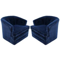 Green Velvet Swivel Chair Black Covers For Party Grand Pair Of Plush Blue Mohair Chairs At 1stdibs