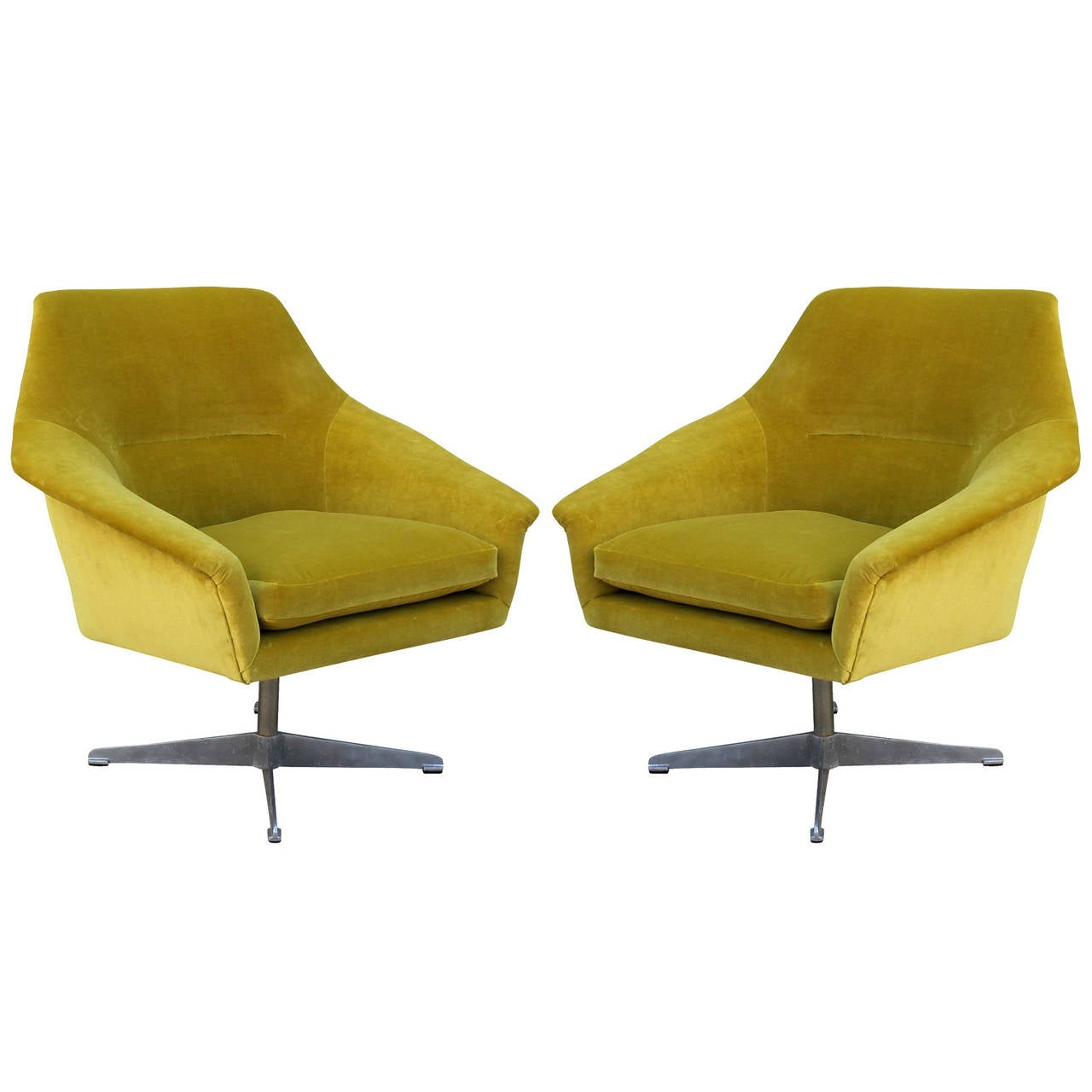 green velvet swivel chair exercise ball pair of swedish chairs at 1stdibs