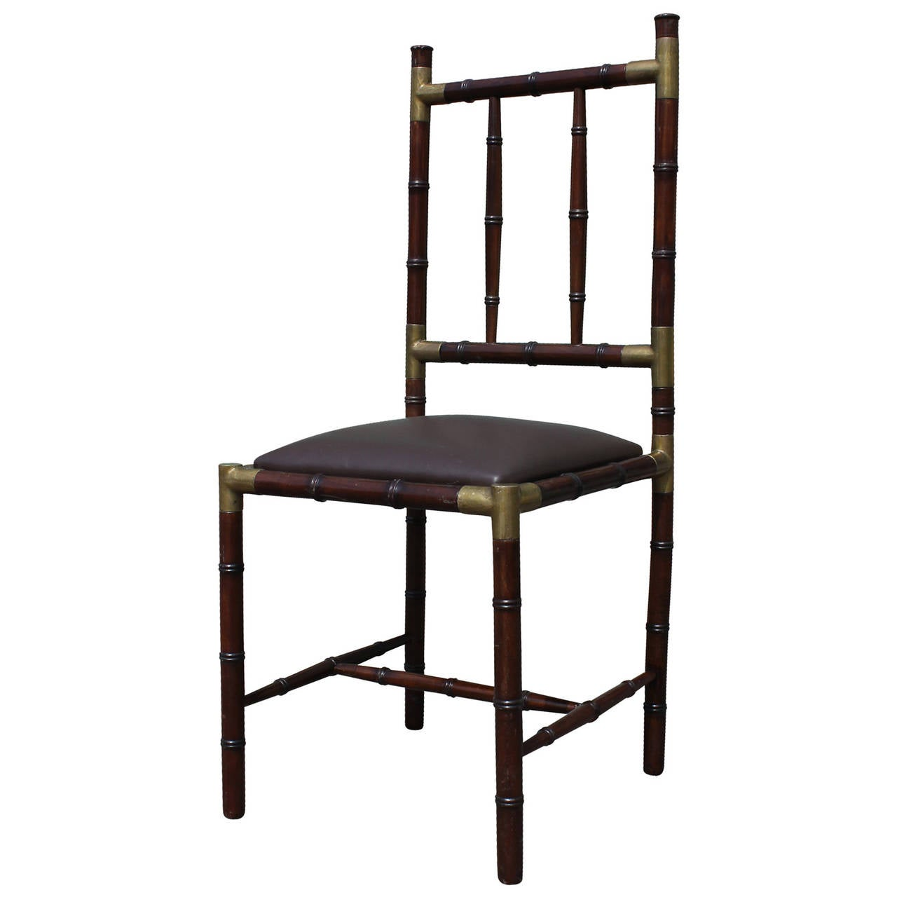 bamboo dining chair shelby williams chairs modern set of six faux with brass