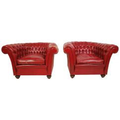 Red Club Chair Mid Century Modern Lounge Vintage Pair Of Ox Blood Leather Chairs At 1stdibs
