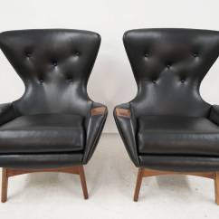 Black Leather Wingback Chair Graco Contempo High Cover Removal Pair Of Adrian Pearsall Lounge