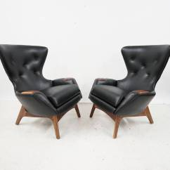Black Leather Wingback Chair Design Dining Table Pair Of Adrian Pearsall Lounge