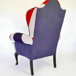 Upholstered Wingback Chair Yellow Rocking Union Jack Queen Anne Wing Back For Sale