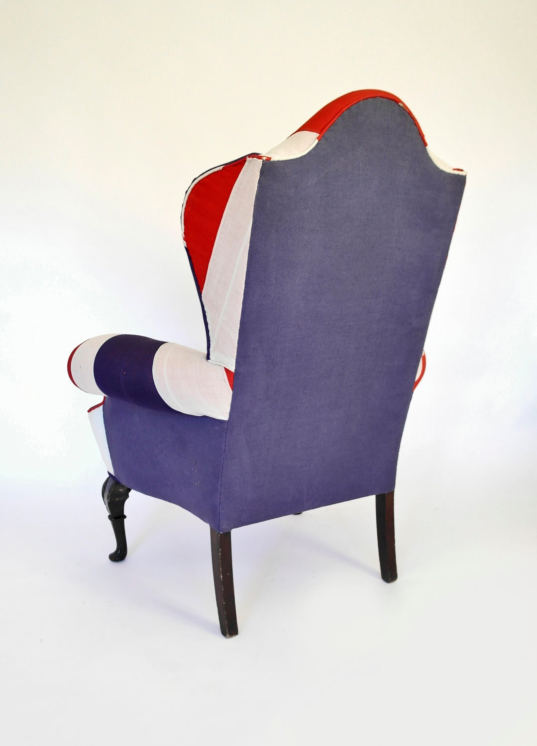 Queen Anne Wingback Chair Union Jack Upholstered Queen Anne Wing Back Chair For Sale