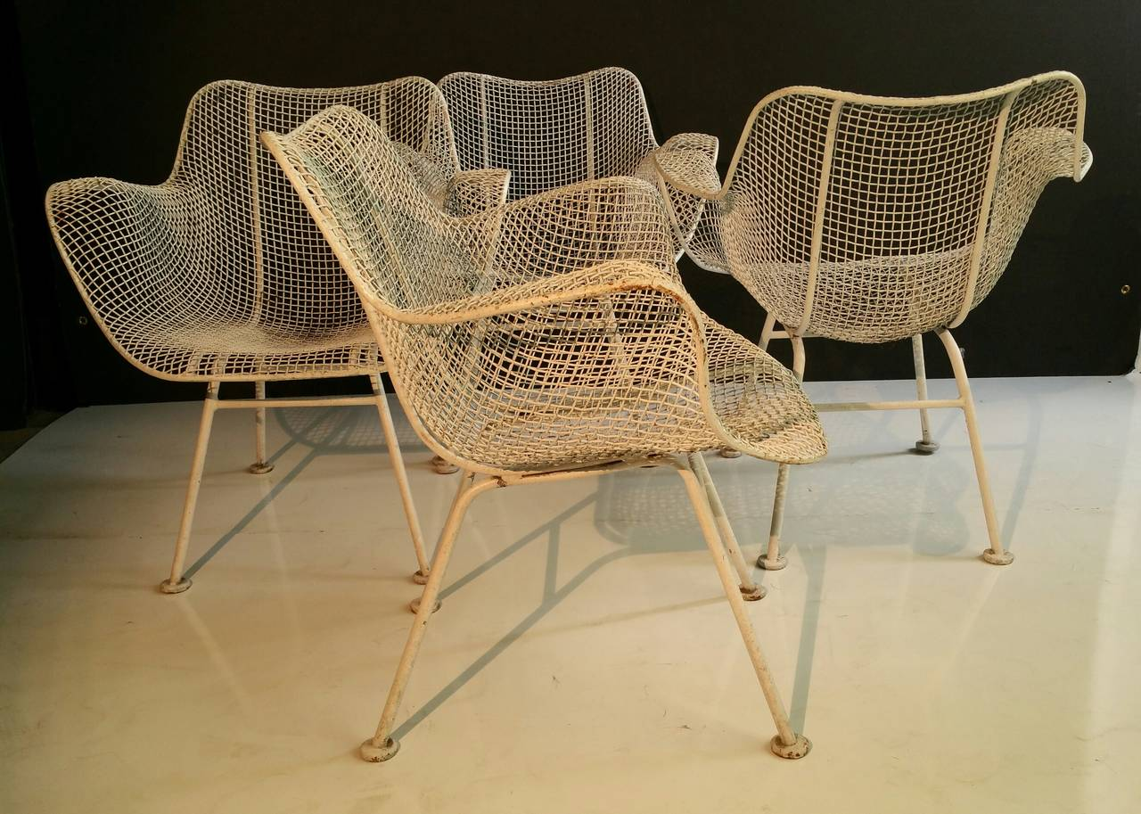 Mesh Lounge Chair Set Of Four Classic Woodard Sculptura Wire Mesh Patio