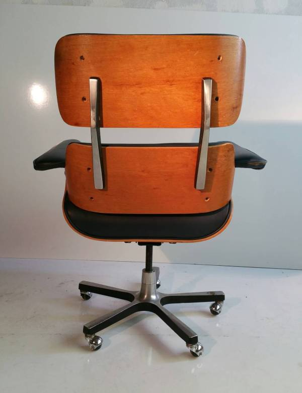 Modernist Eames Style Leather Desk Chair at 1stdibs