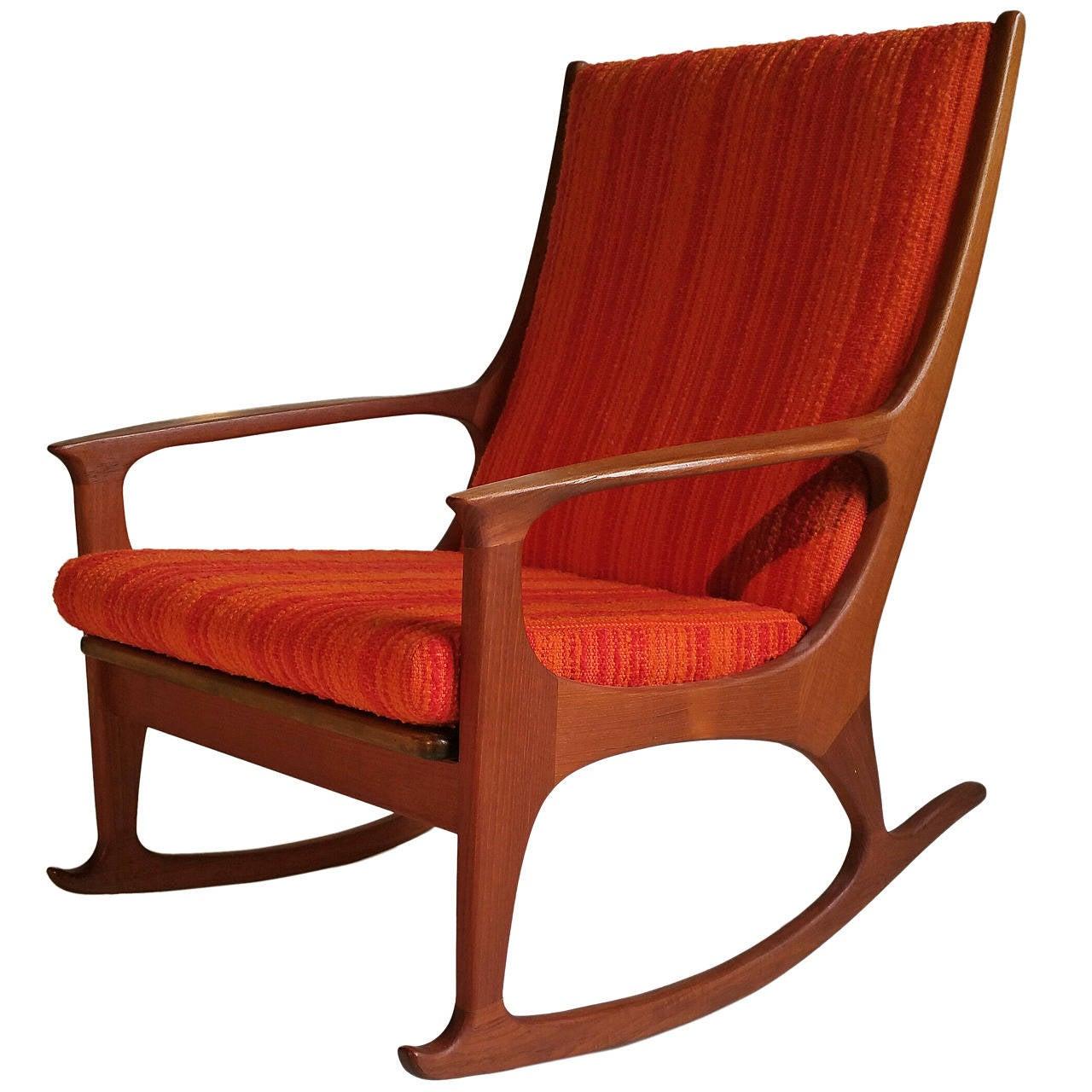 danish modern rocking chair used power chairs midcentury teak at 1stdibs