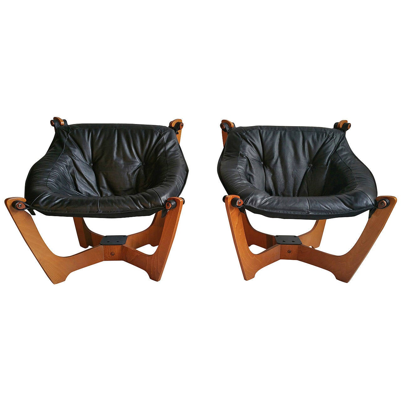 sling chairs for sale plastic sheet under high chair pair of vintage danish mid century modern møbler luna