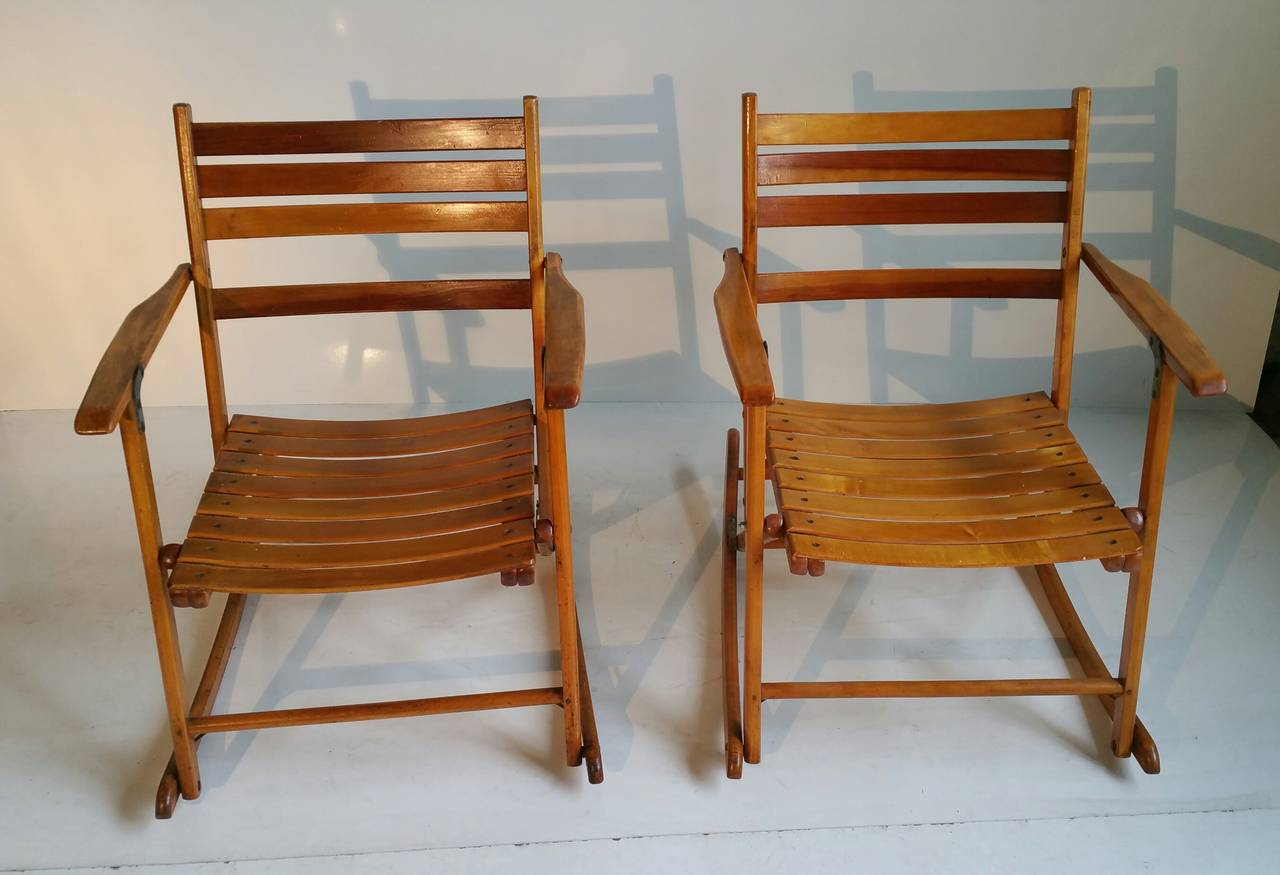 Telescope Chairs Pair Of Modernist Folding Slatted Rocking Chairs By