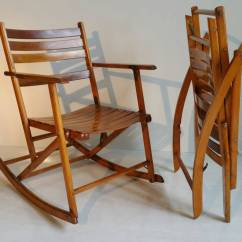 The Chair Company White Nursery And Ottoman Pair Of Modernist Folding Slatted Rocking Chairs By