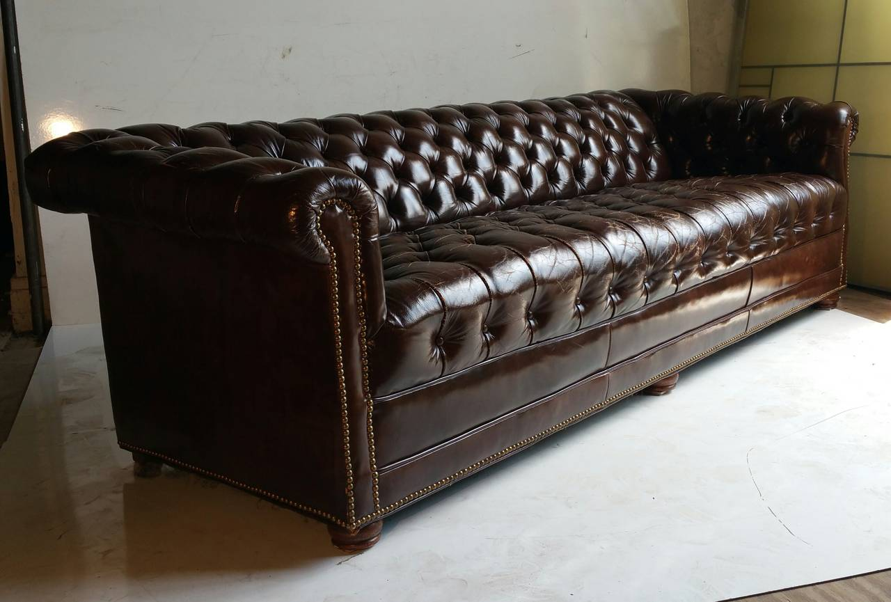 tufted button sofa sky blue sectional brown leather chesterfield classic at 1stdibs american for sale