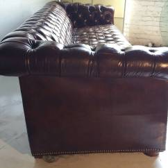 Tufted Leather Sofa With Rolled Arms Friheten Three Seat Bed Skiftebo Dark Grey Brown Button Chesterfield Classic At