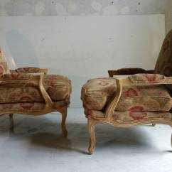 Drexel Heritage Chairs La Z Boy Office Chair Canada Oversized Pair Of French Bergeres Or Lounge Stunning Crackle Distressed Warm Off White Finish Recently Reupholstered