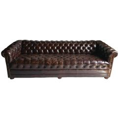 Tufted Brown Leather Sofa Ethan Allen Cover Button Chesterfield Classic At 1stdibs For Sale