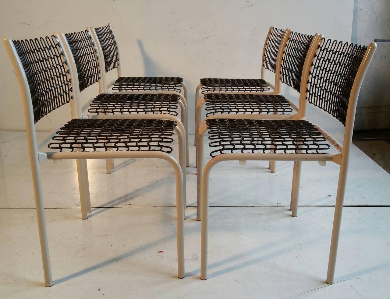 david rowland metal chair garden covers amazon set of six thonet sof tek stacking chairs by roland