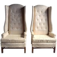 """Monumental Oversized Stylized Wing Chairs Tall """"Paris ..."""
