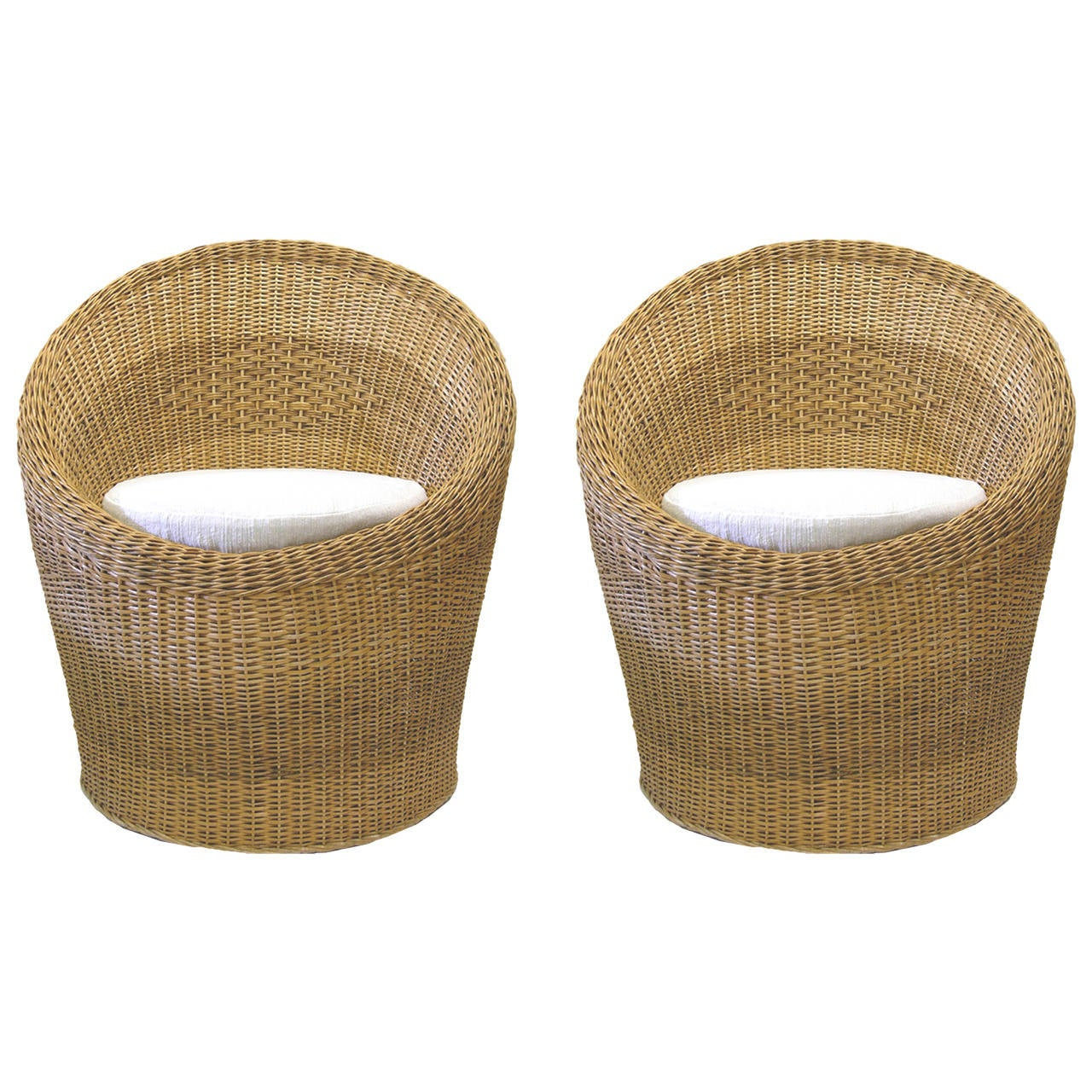 Pod Chairs Pair Of Woven Wicker Pod Chairs With Haitian Cotton Seat
