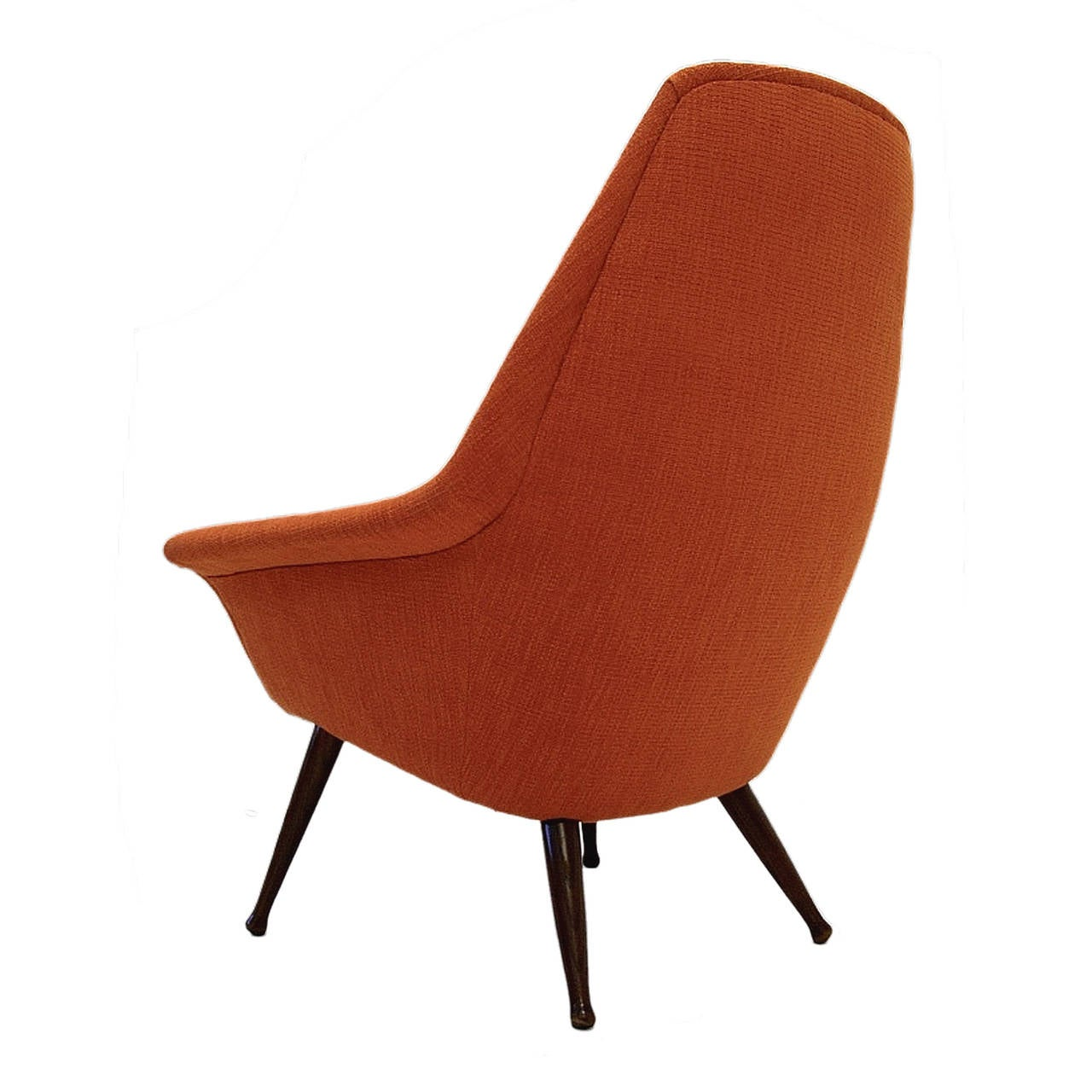 Modern Orange Chair Midcentury Sleek Modern Sculptural Lounge Chair In New