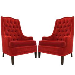 Red Club Chair Portable Hammock Excellent Pair Of Tufted Velvet Classic Regency Arm Or