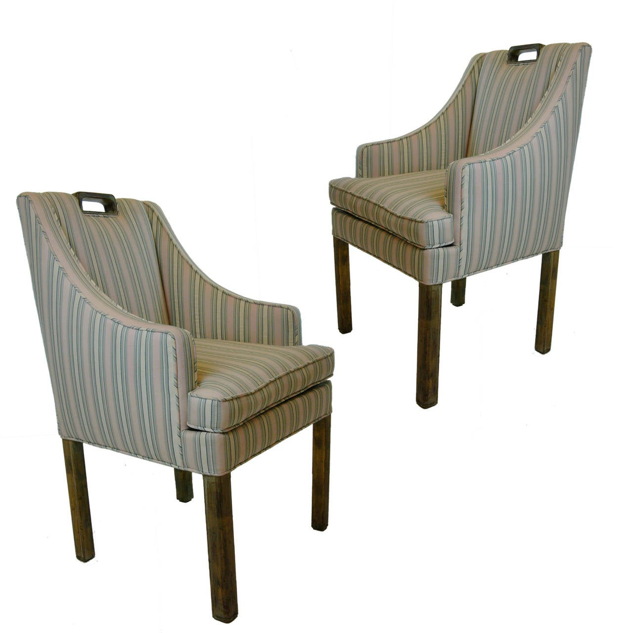 Sitting Chairs Handsome Pair James Mont Tuxedo Occasional Armchairs