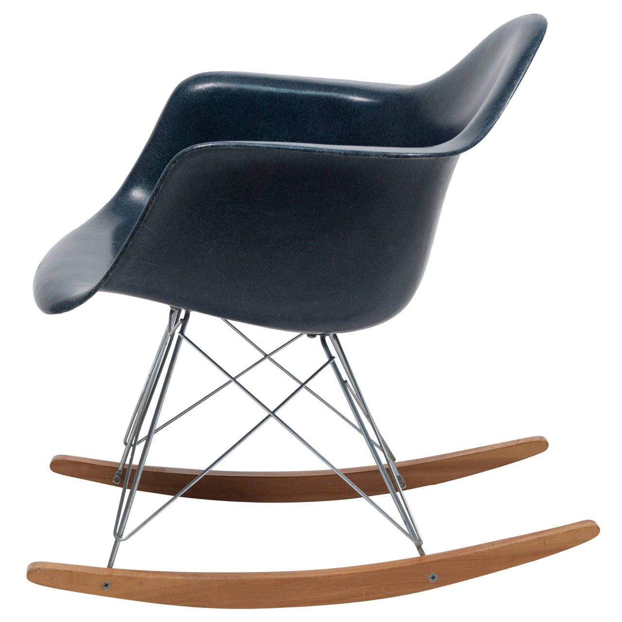 Eames Navy Blue Shell Herman Miller Rocking Chair, 1962