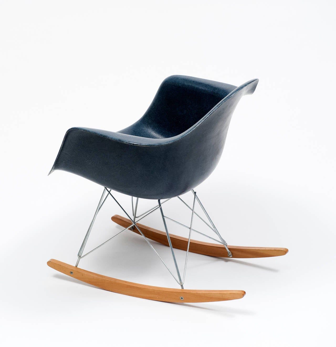 navy rocking chair steel covers eames blue shell herman miller 1962