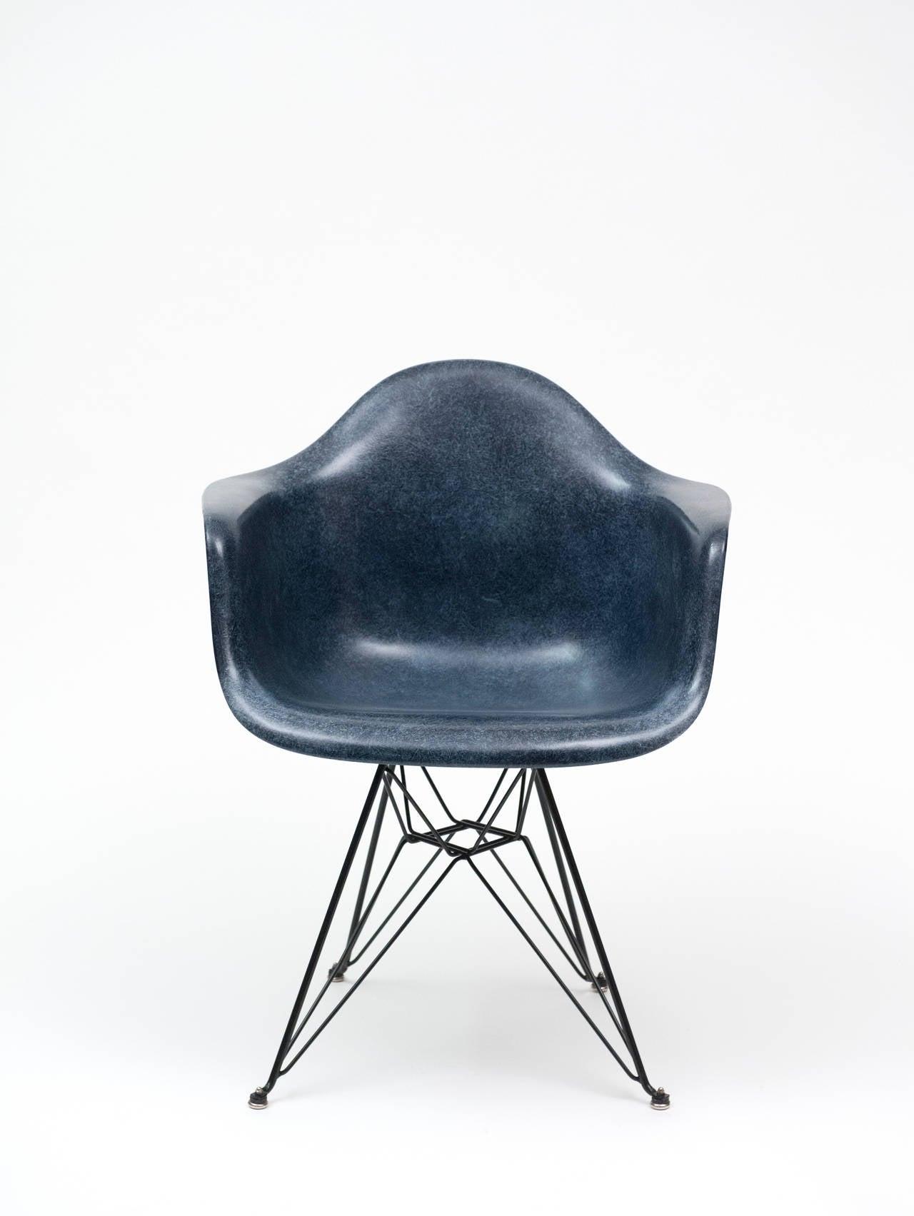 Eames Navy Blue Herman Miller Dar Shell Chair With Eiffel