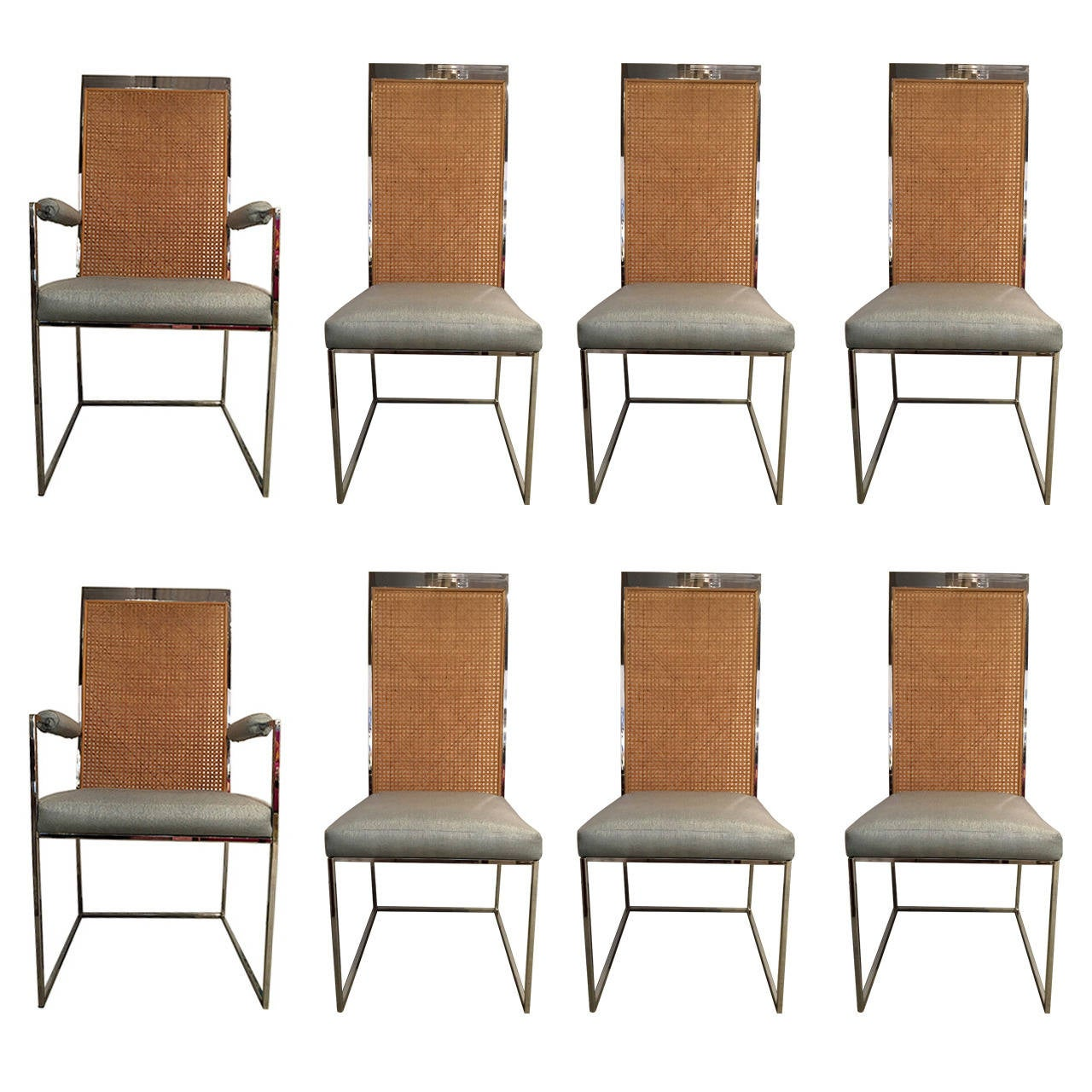 cane back chairs for sale best pool lounge set of eight milo baughman chrome and dining