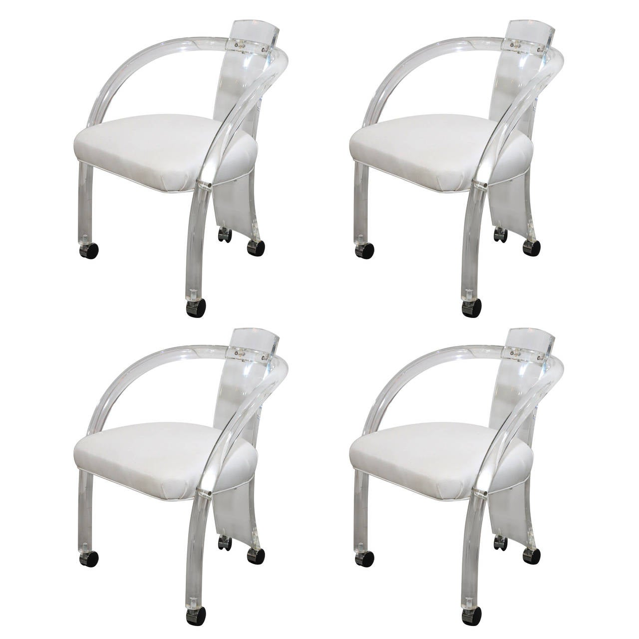 chairs on casters diy tulle chair covers mid century modern s 4 charles hollis jones style lucite arm for
