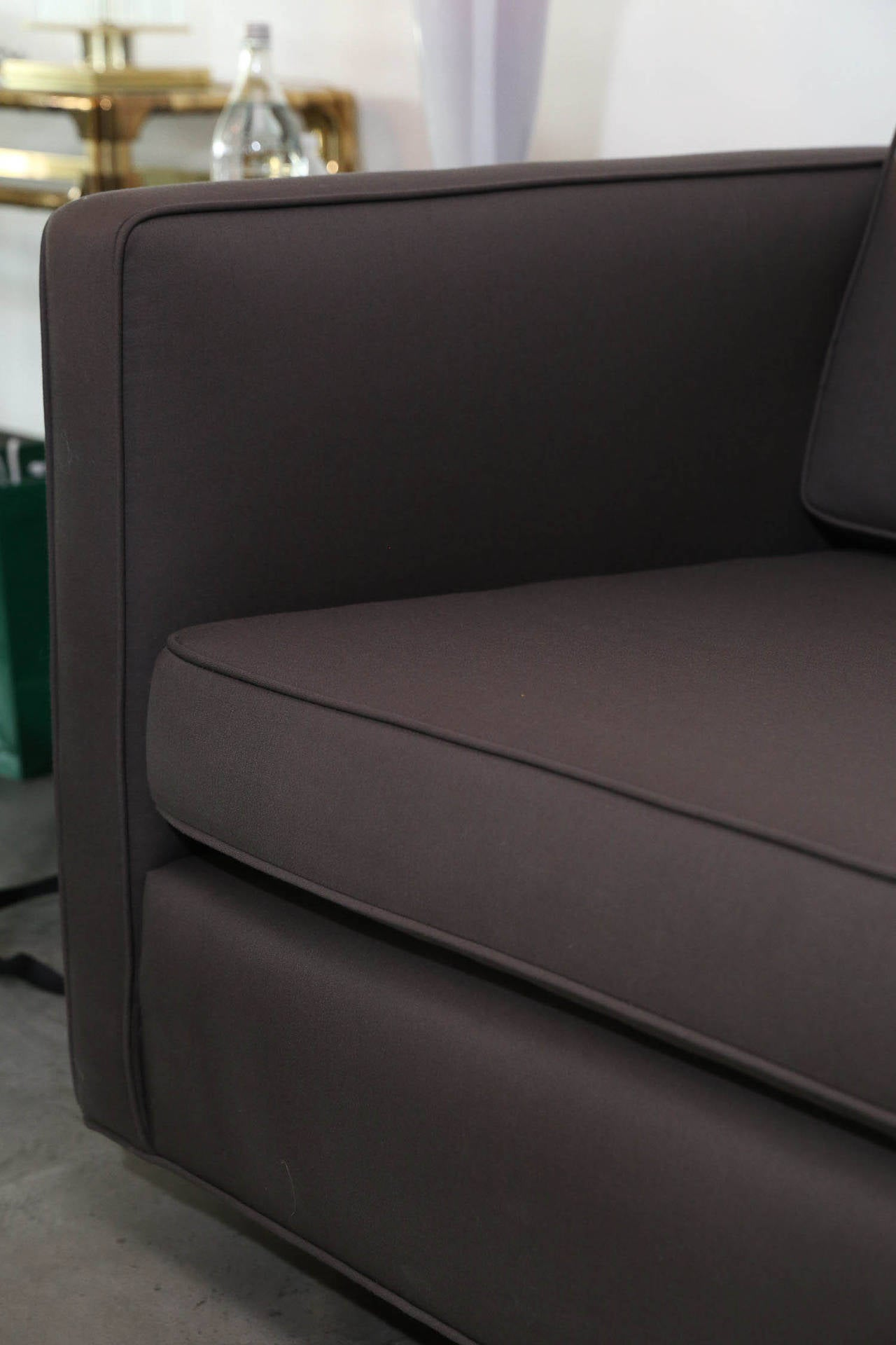 holly hunt sofa cost crate and barrel axis ii bed harvey probber newly upholstered in fabric