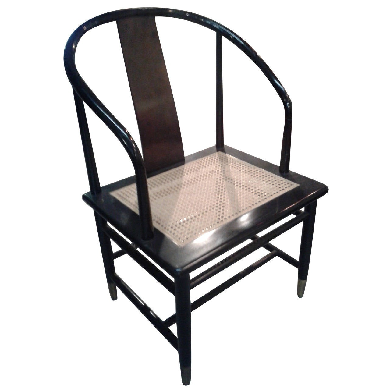 cane bottom chairs leather club chair pottery barn black mid century horseshoe style brass foot