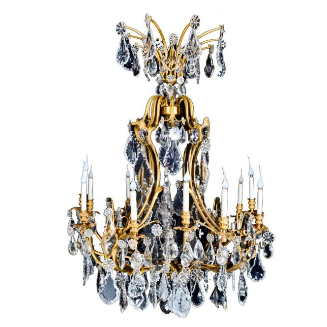 Large Antique French Louis Xvi Style Gilt Bronze And Crystal Baccarat Chandelier 1