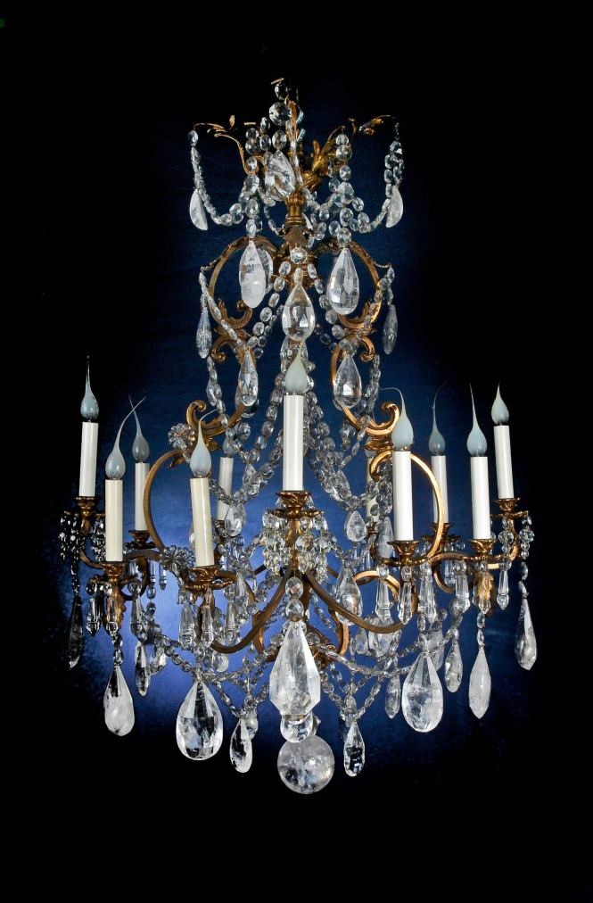 Fine Antique French Louis Xv Style Gilt Bronze And Cut Rock Crystal Chandelier In Good Condition