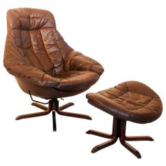 Wh Gunlocke Chair Blue Bay Rum Cream Brown Leather Lounge With Ottoman By H W Klein