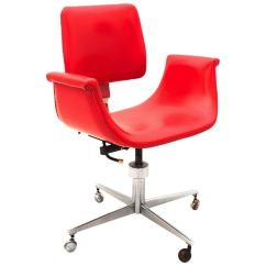Red Swivel Desk Chair Swing Exercise Mid Century Modern Italy 1950 For
