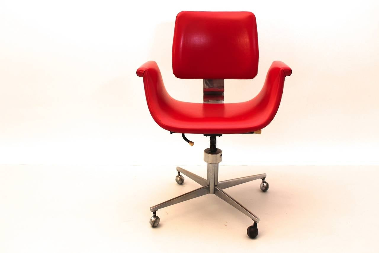 red swivel desk chair blow up beach mid century modern italy 1950 for