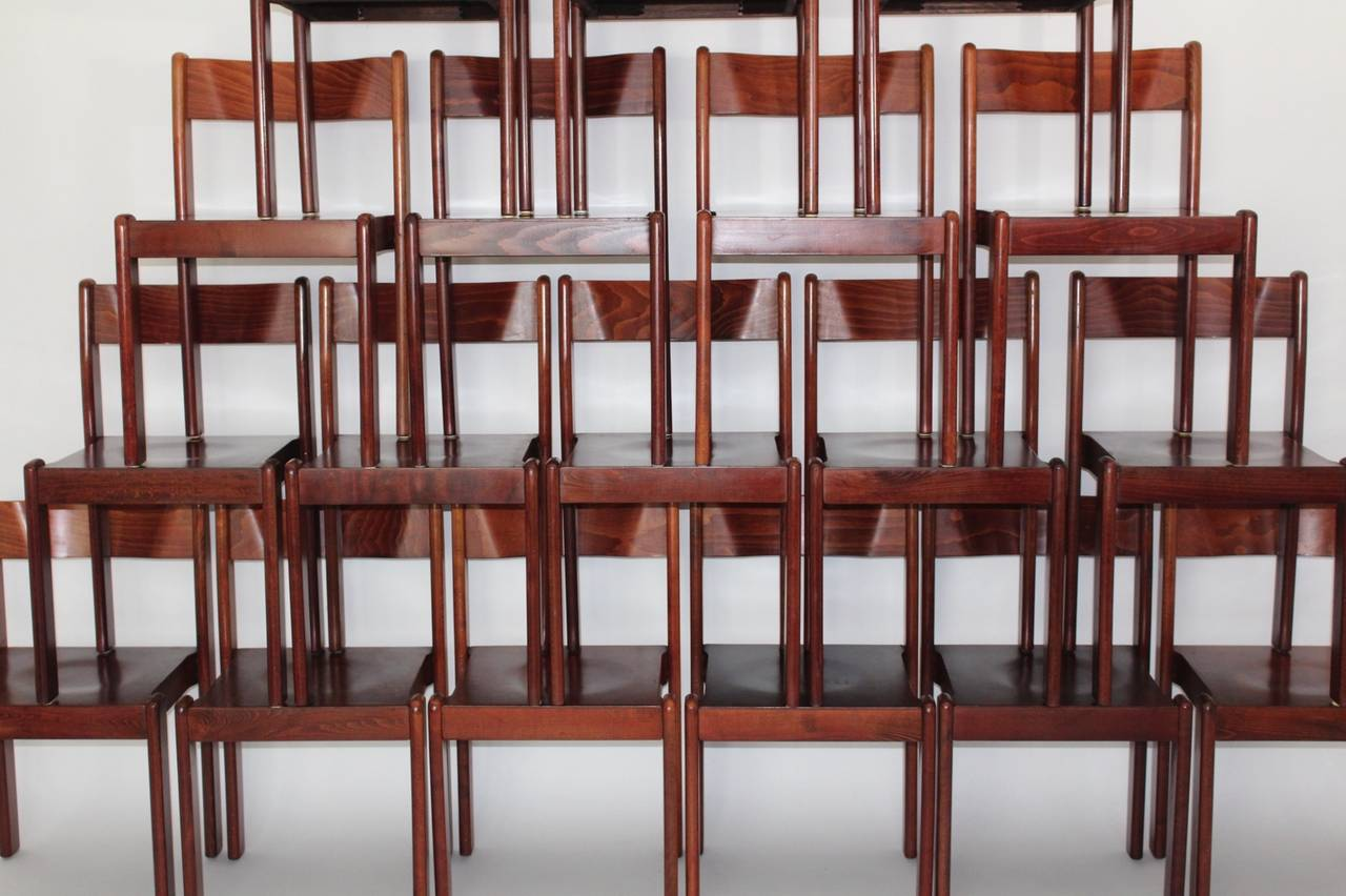 Brown Mid Century Modern Vintage Beech Wood Dining Chairs 1970 Italy