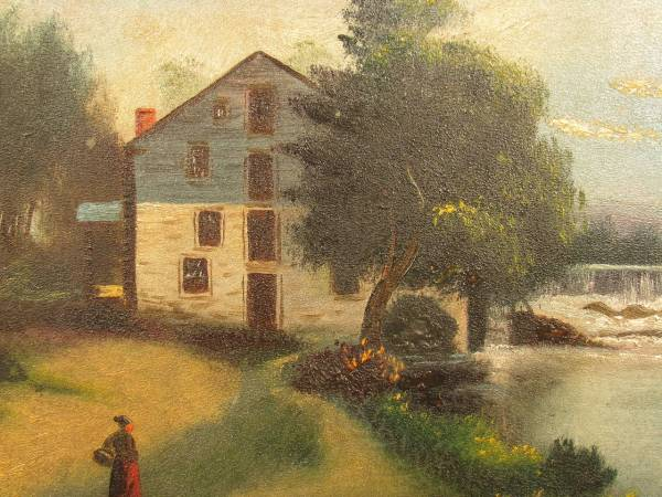 19th Century Oil Board Painting Of Farm Scene With