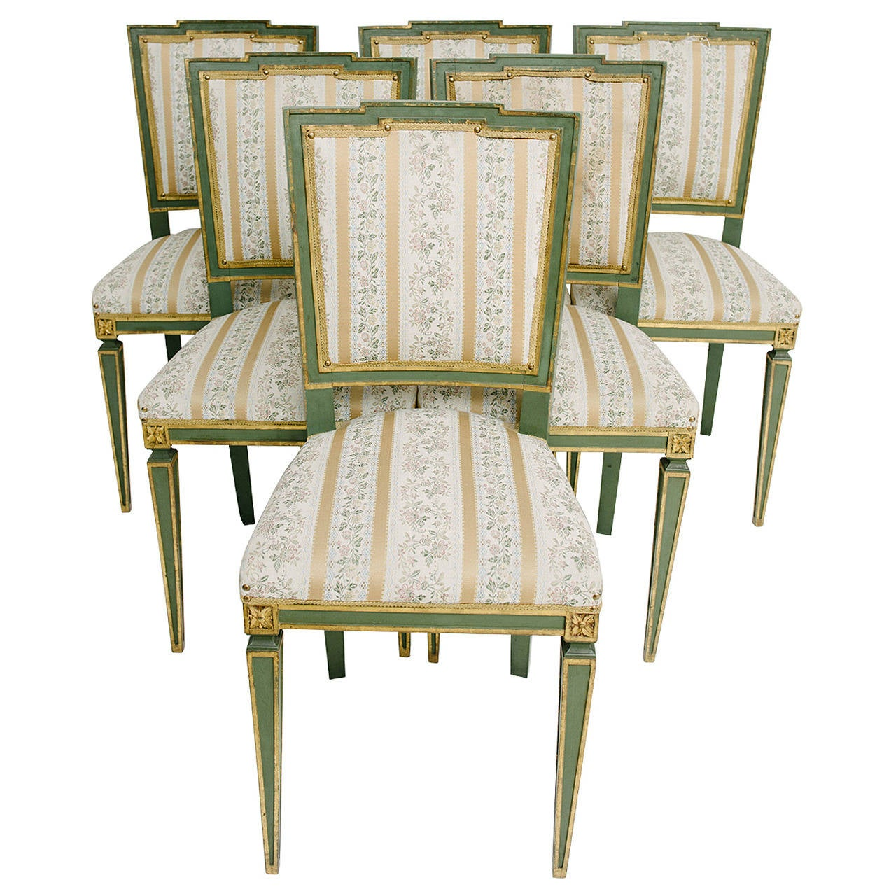 Italian Dining Chairs Painted Louis Xvi Style Italian Dining Chairs At 1stdibs