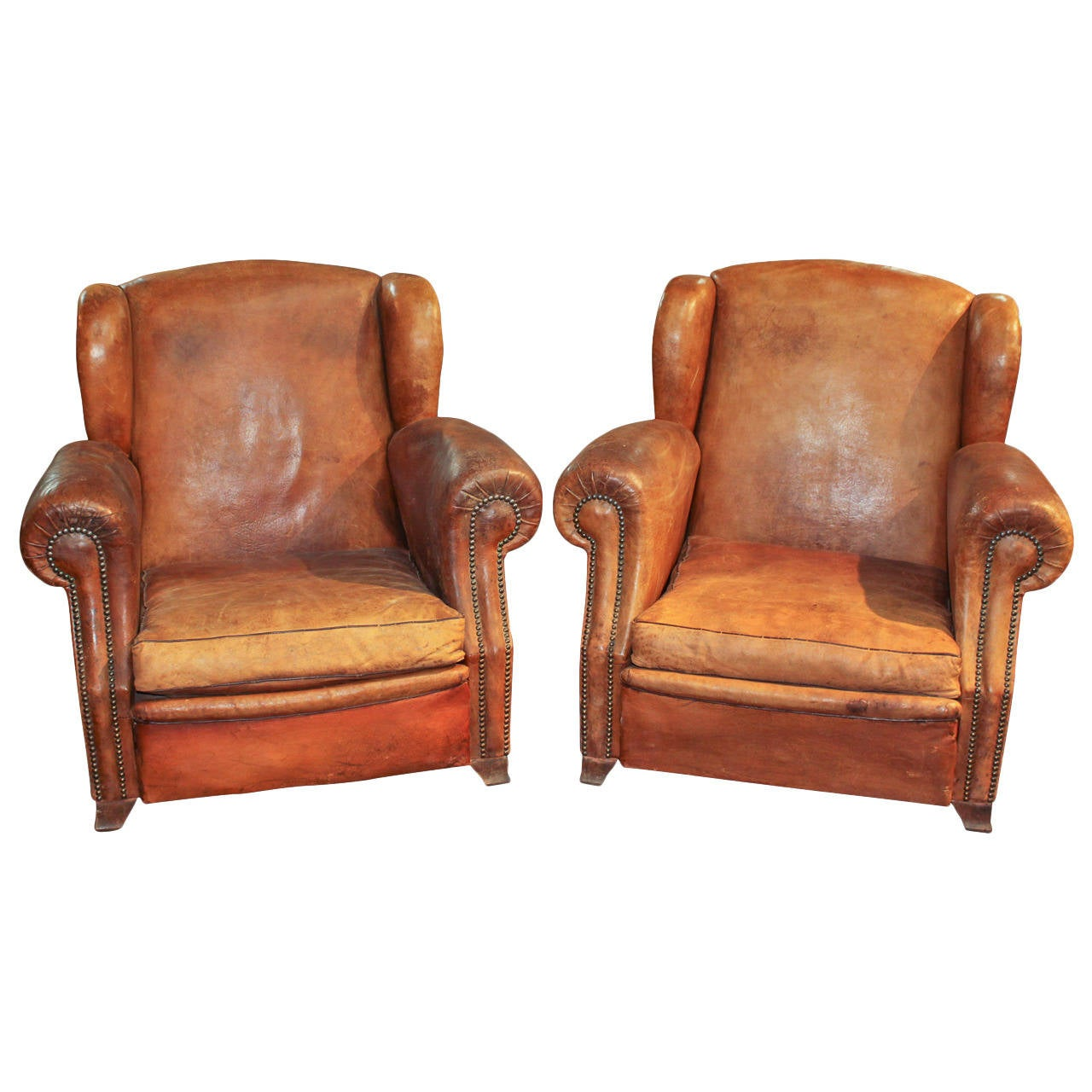 French Club Chair Pair Of French Leather Club Chairs At 1stdibs