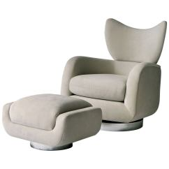 Swivel Club Chair With Ottoman Monarch Double X Back Dining Chairs Vladimir Kagan Lounge And For Sale At